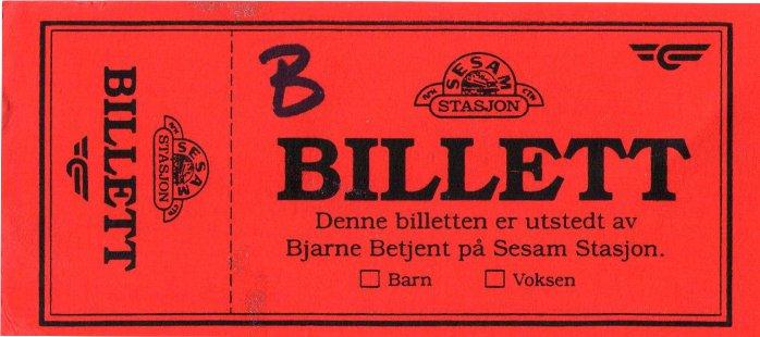 Billett til festforestilling Ottahallen, jernbanejubileet på Otta.