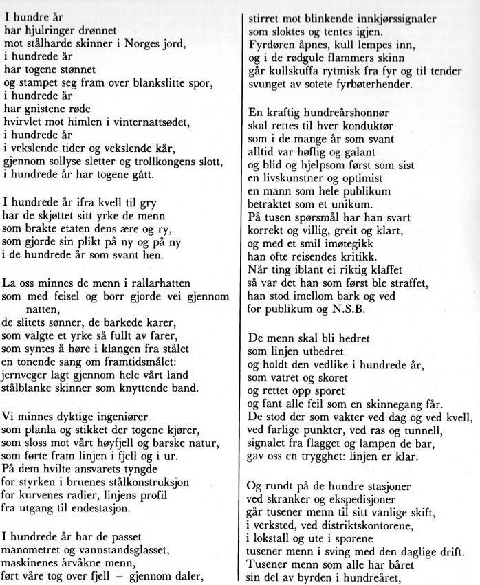 Prolog ved jubileumstogets ankomst til Otta 13. mai 1954 (av Lars Riise-Pedersen)
