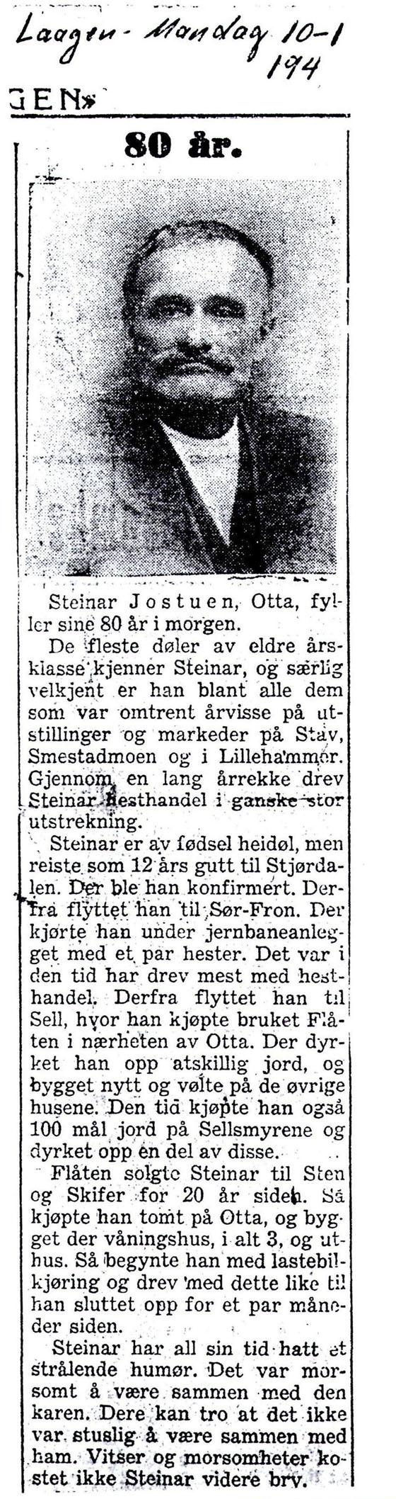 Utklipp fra avisa Laagen i 1944, da Steinar Jostuen fylte 80 år.