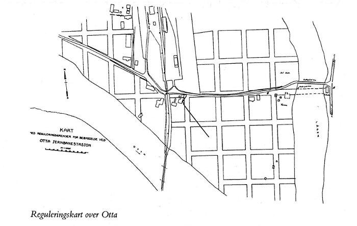 Kart over Otta fra 1890-årene