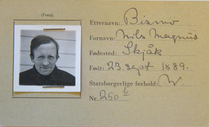 Magnus Bismos legitimasjonskort fra krigen