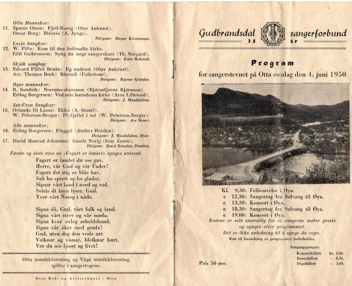 Programmet under sangerstevnet på Otta i 1950.