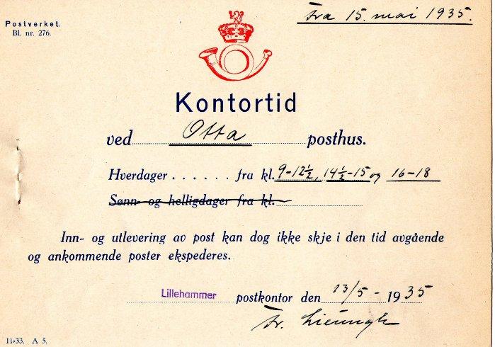Otta poståpneri 1935.