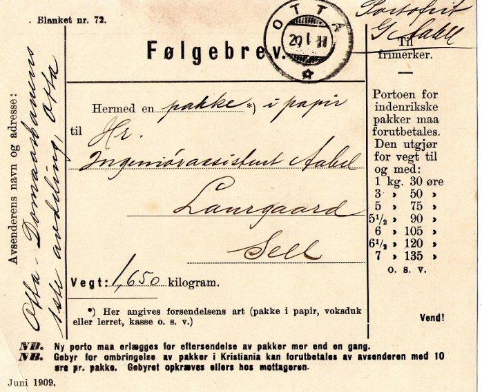 Følgebrev fra 1911, Otta-Dombåsbanen.