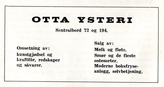 Annonse fra Otta ysteri i 1959.